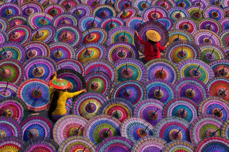 Paint On Umbella, Lin  Nay , Myanmar
