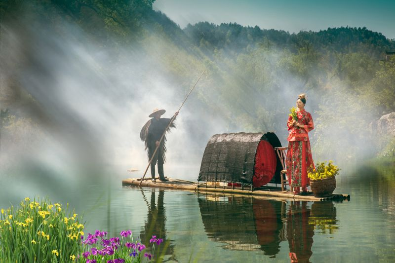 Woman In Red Attire On River, Zhang  Qi , China