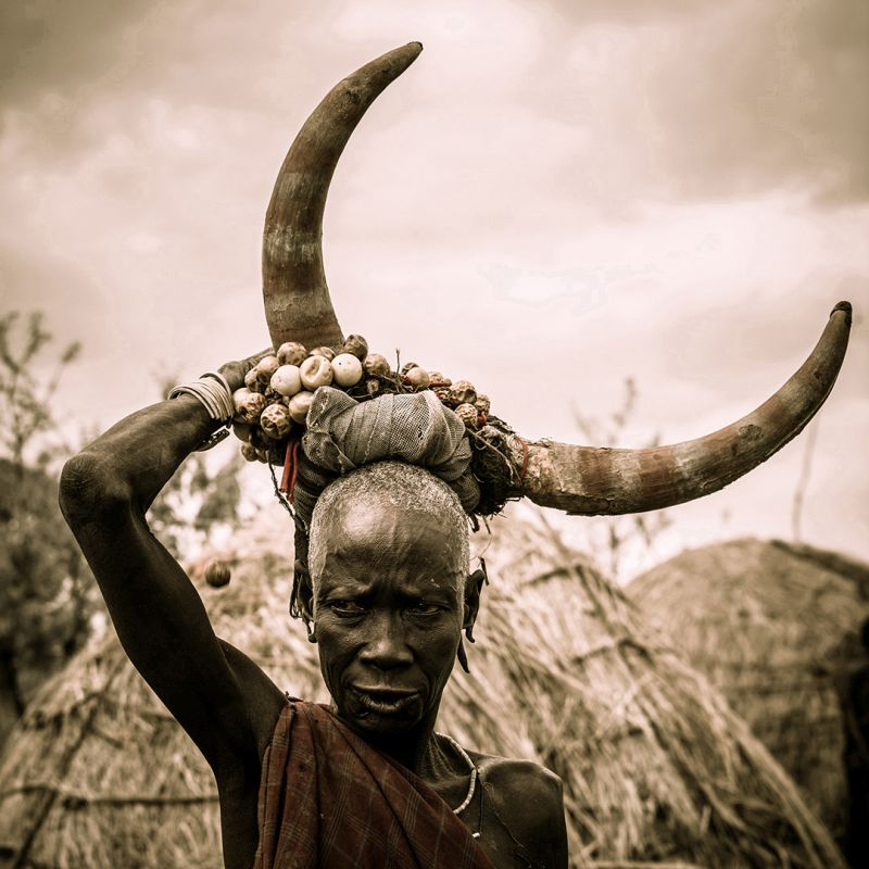 Mursi Woman With Big Horns, Halvas-nielsen  Herdis , Germany